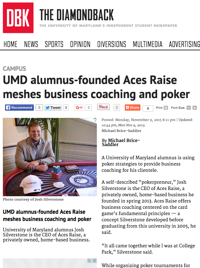marland, aces raise, business coaching, poker